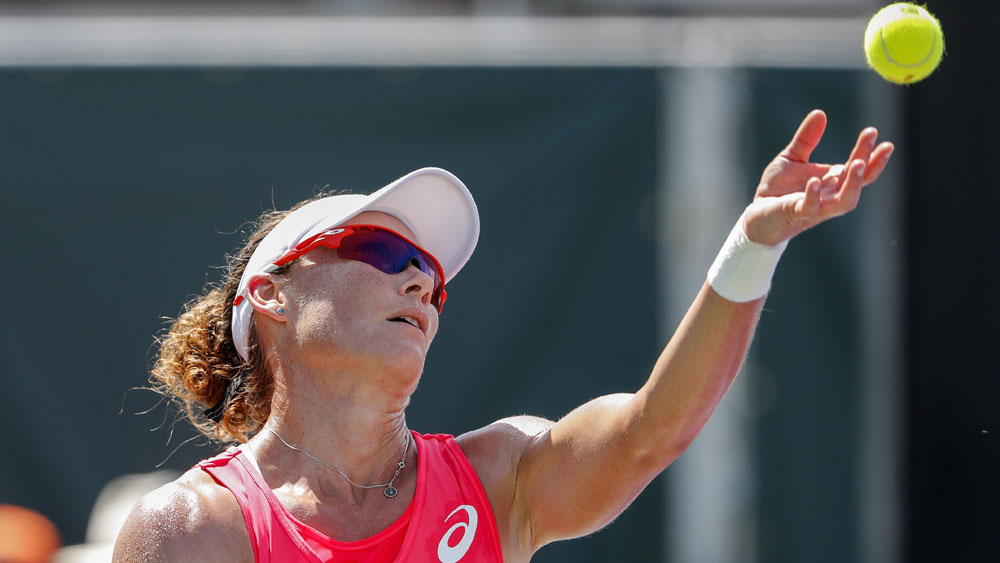 Samantha Stosur during her win over Shuai Peng. (AAP)