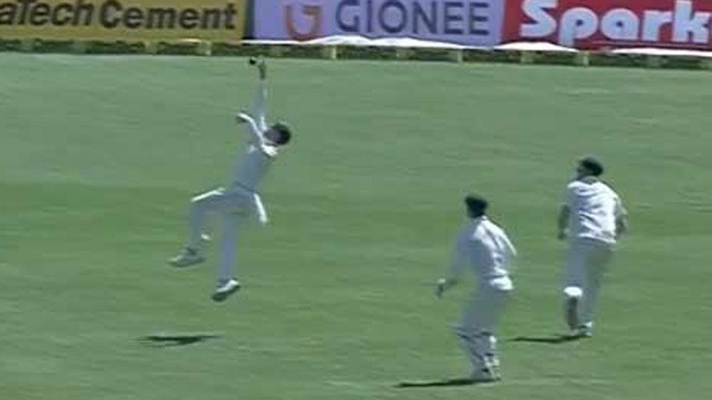 Australian captain Steve Smith takes stunning catch to dismiss India's Wriddhiman Saha