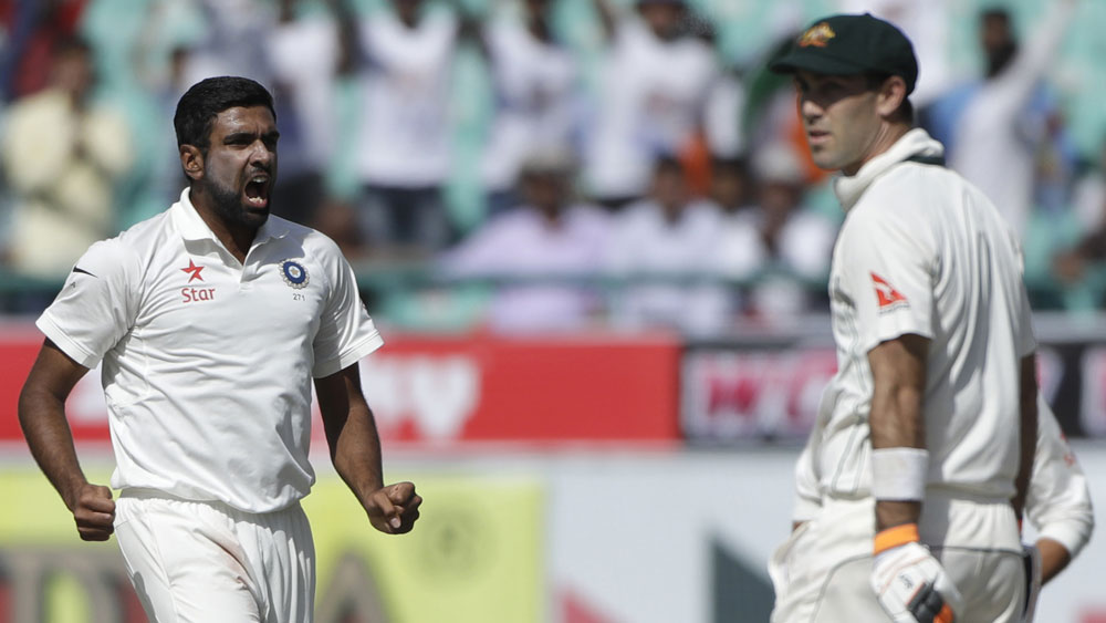 Australia's Glenn Maxwell out lbw after padding up to India's Ravi Ashwin