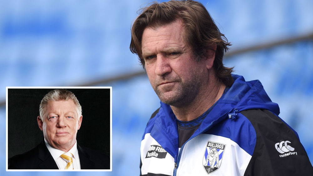 Channel Nine's Phil Gould (inset) and Canterbury Bulldogs coach Des Hasler.