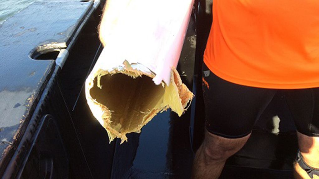 The man's damaged kayak after the shark attack. (Queensland Police)