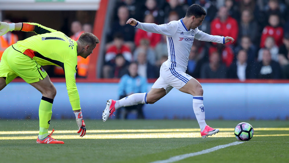 Eden Hazard scores for Chelsea against Bournemouth. (AAP)