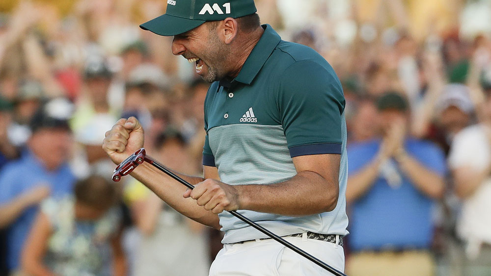 Sergio Garcia reacts after sinking the tournament-winning putt. (AAP)