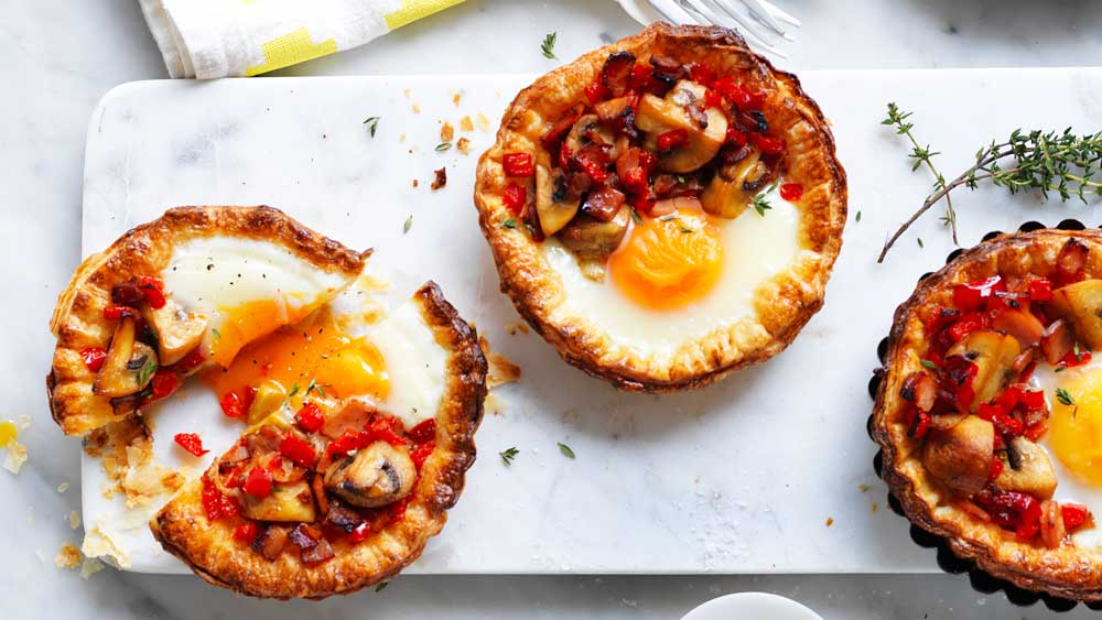 Mushroom and egg breakfast tarts recipe