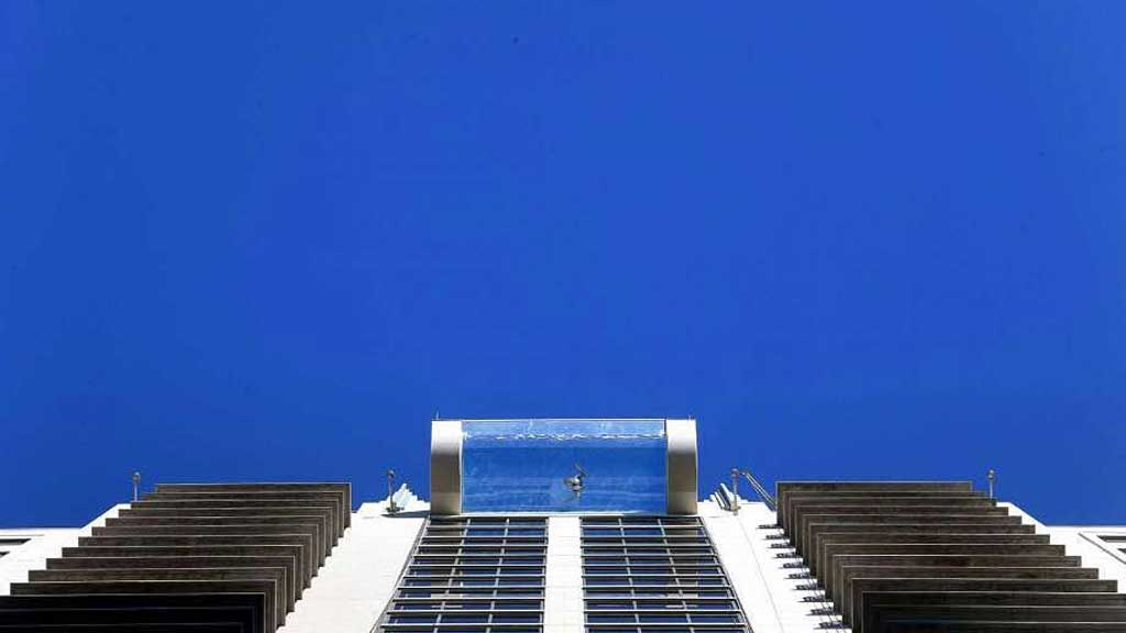 Living on the edge this glass bottom pool on the 42nd floor not for faint of heart - Glass bottom pool ...