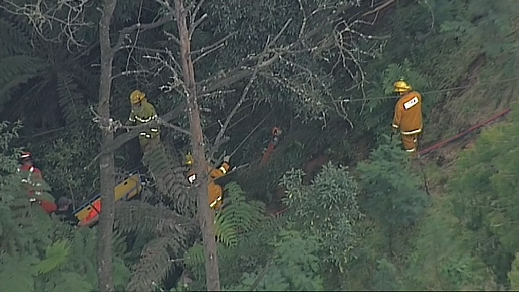 The car has reportedly been winched up. (9NEWS)