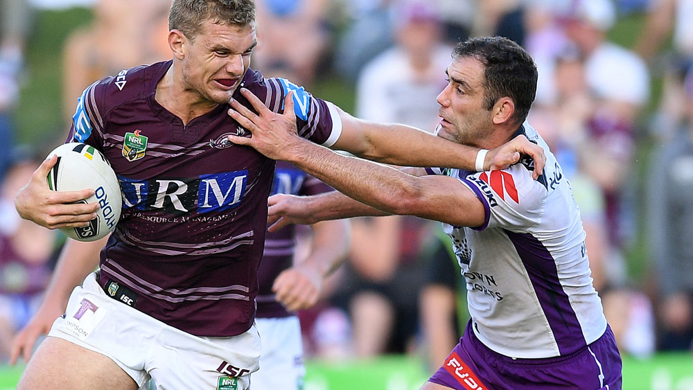 Tom Trbjoveic and the Sea Eagles were unable to escape the clutches of Cameron Smith and the Storm. (AAP)