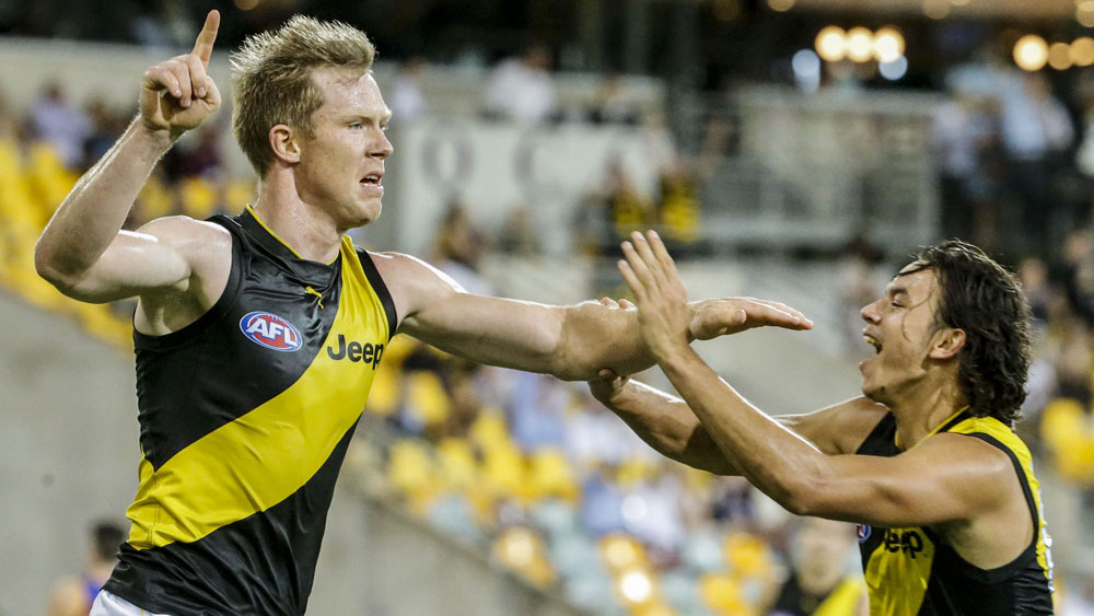 Richmond star Jack Riewoldt celebrates a goal against Brisbane. (AAP)