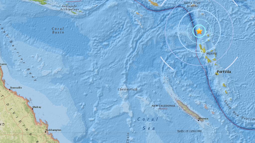 Magnitude 5.7 earthquake hits north of Vanuatu