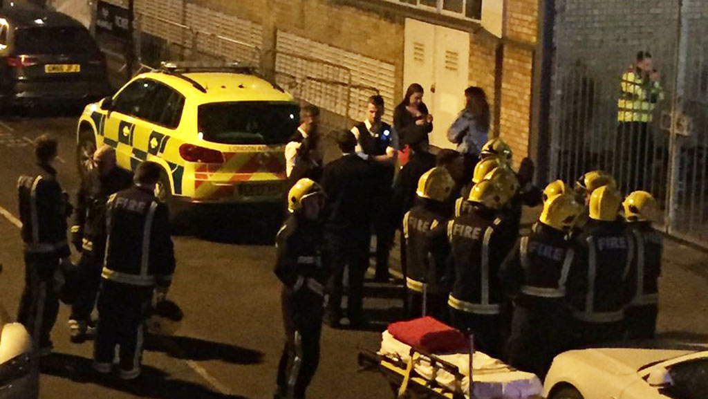 A photo taken by a bystanders shows emergency service workers gathered outside the club. (Twitter/@PhieMcKenzie)