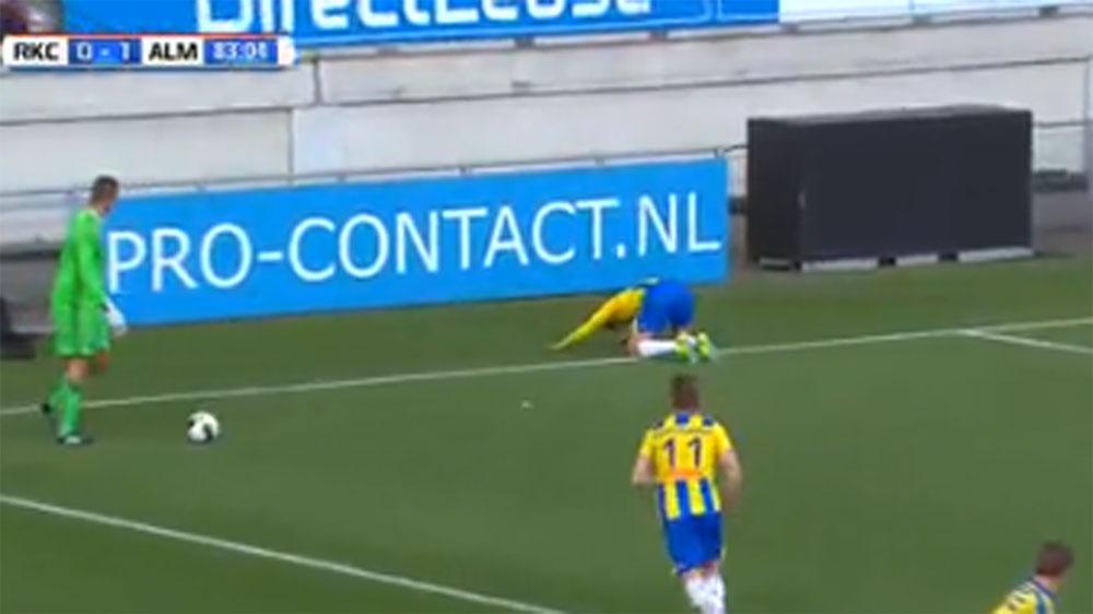 Shifty striker steals ball off goalkeeper unsportsmanlike goal