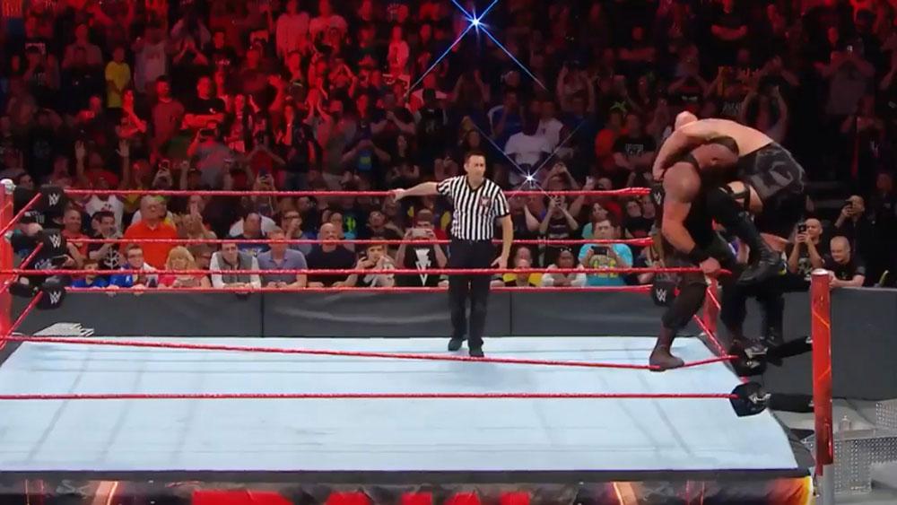WWE wrestlers Big Show and Braun Strowman break the ring in Ohio