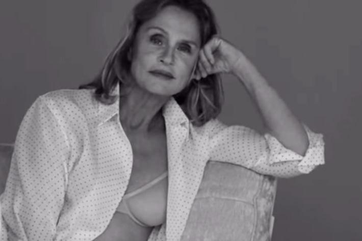 Lauren Hutton, 73, models underwear for Calvin Klein