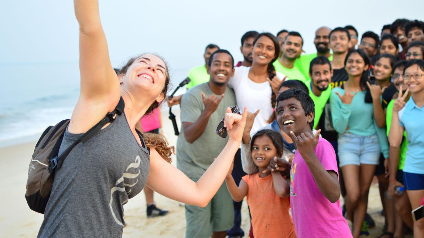 Ms McFarlane on a beach run in India. (Photo: Manan Dhuri)
