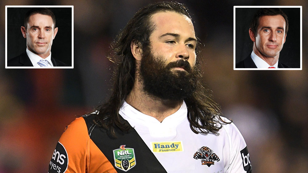 Brad Fittler (inset left), Wests Tigers captain Aaron Woods and Andrew Johns (inset right).