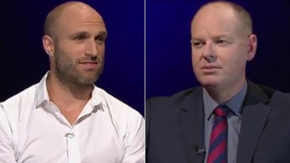 Former West Coast skipper Chris Judd (l) and comedian Tom Gleeson.