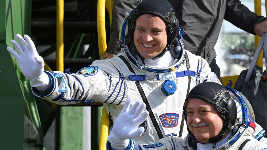 US and Russian crew depart for International Space Station