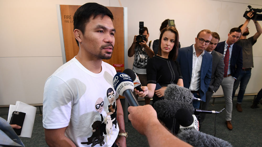 Manny Pacquiao in Brisbane on Monday. (AAP)
