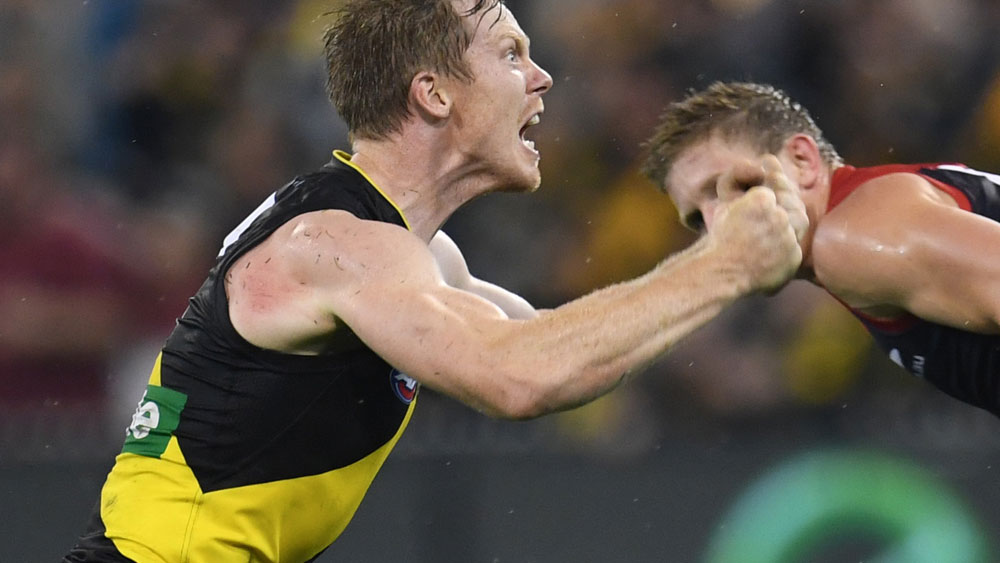 Jack Riewoldt celebrates the Tigers' win over Melbourne, (AAP)