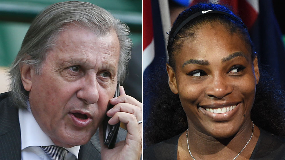 Romanian Fed Cup captain Ilie Nastase (l) and US tennis star Serena Williams.