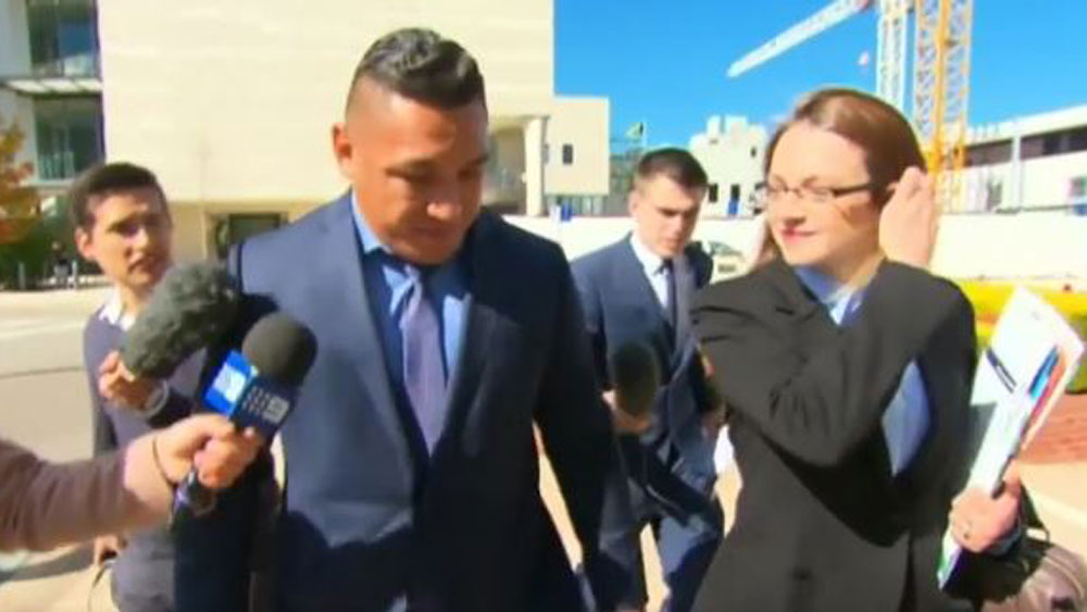 Josh Papalii leaves the ACT Magistrate's Court on Thursday.