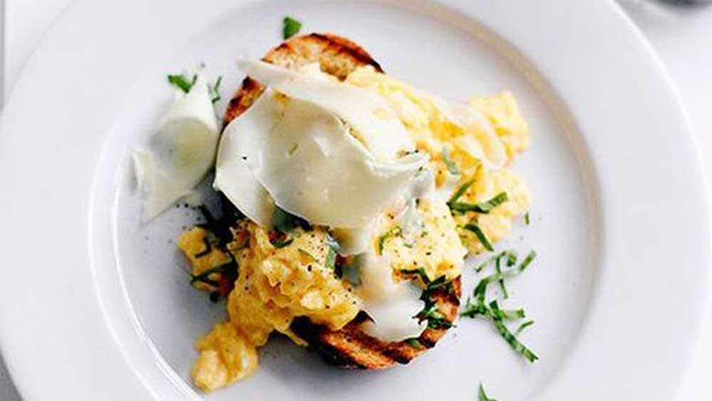 Eggs on toast with Asiago