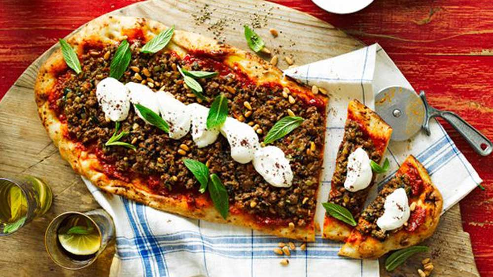 Middle Eastern style pizza