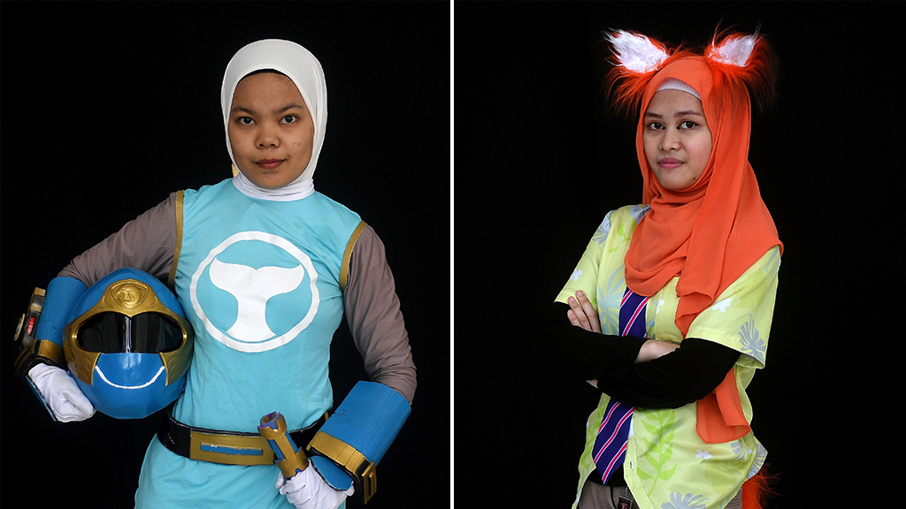 """Cosplayers attend the """"Hijab Cosplay"""" event in Subang Jaya, outside of Kuala Lumpur, on April 29, 2017. (AFP)"""