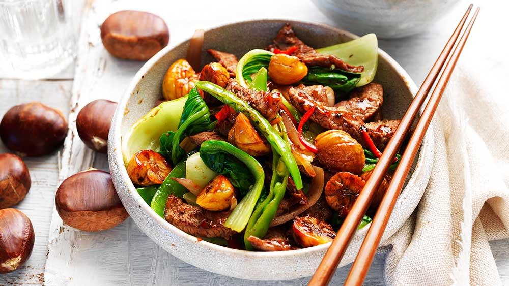 Chestnut, beef and bok choy stir-fry by Chestnuts Australia