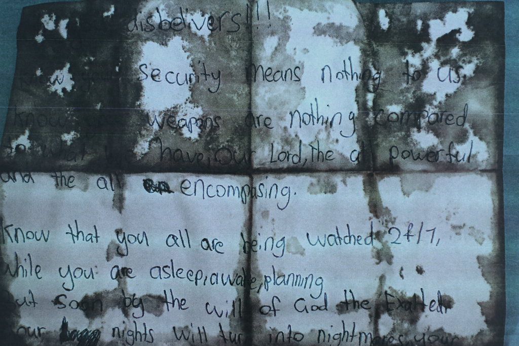 The bloodstained note found near Jabar's body. (AAP)