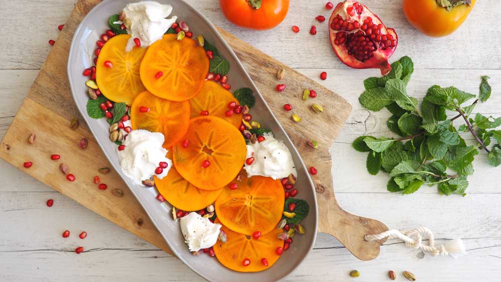 Persimmon burrata salad