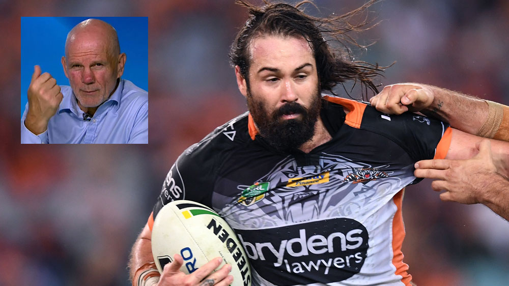 Departing Wests Tigers prop Aaron Woods and (inset) Peter FitzSimons. (main pic AAP)