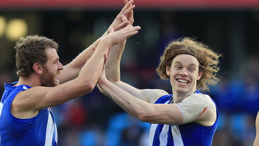 Ben Brown celebrates a North Melbourne goal against Adelaide. (AAP)