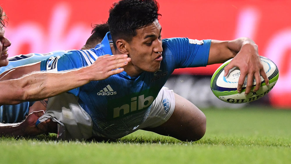 Rieko Ioane scores a try for the Blue during their Super Rugby win over the Waratahs. (AAP)