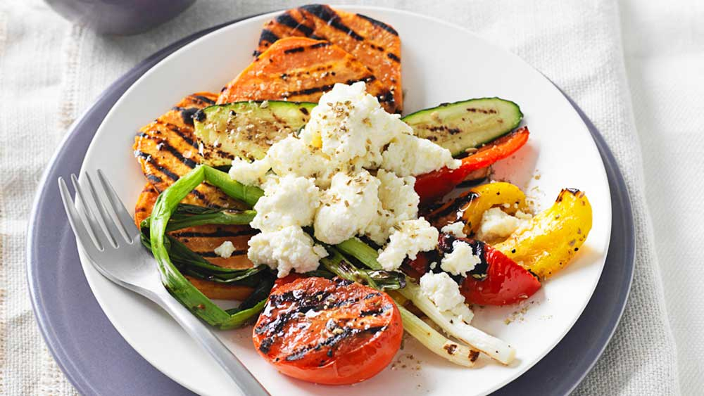 Chargrilled vegetables with ricotta and fennel salt by Weight Watchers