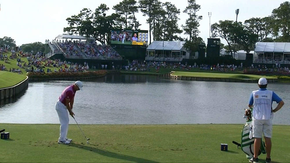 Sergio Garcia has hole-in-one as Adam Scott finds the water on famous island green at Sawgrass