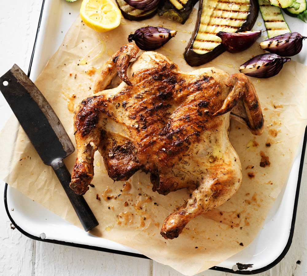 Dan Churchill's butterflied saltbush chook with charred vegetables recipe from Surfing the Menu
