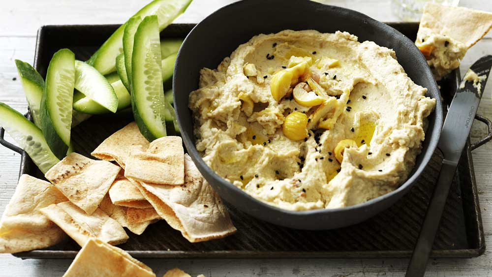 Quick chestnut hummus dip by Chestnuts Australia