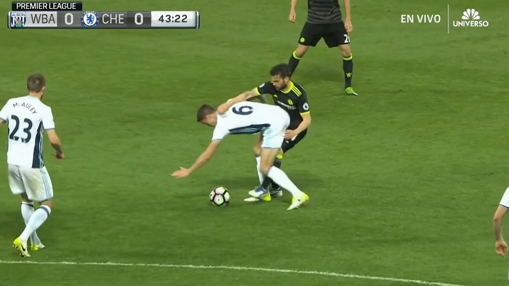 West Brom player deliberately handballs and gets away with it