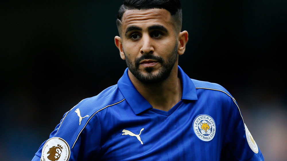 Riyad Mahrez had a goal denied in Leicester City's match against Manchester City. (AAP)