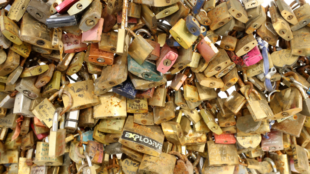 Padlocks locked and left as a symbol of love on Parisian bridges, displayed during an auction organised by the Ville de Paris. (AFP)