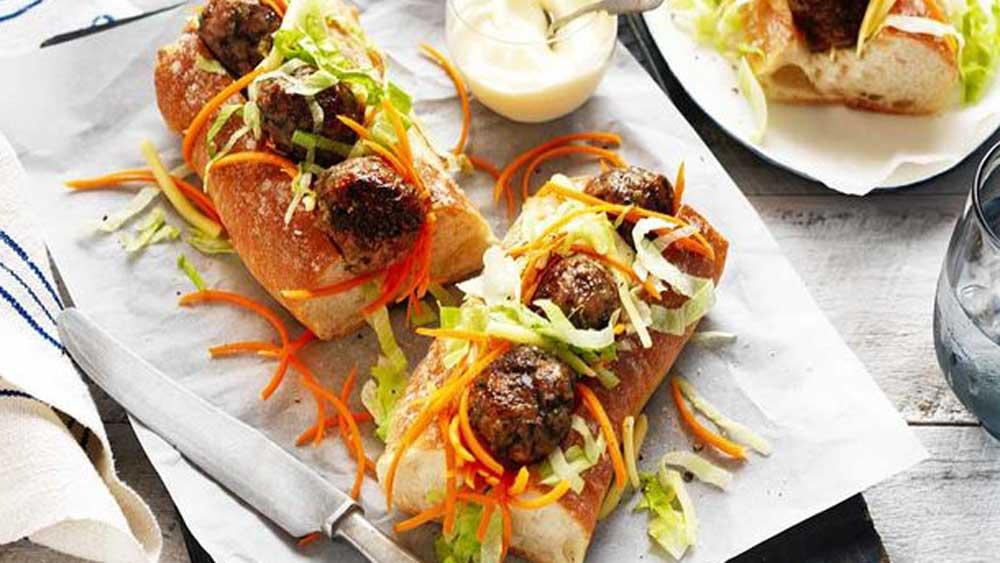 Pork and mushroom meatball subs