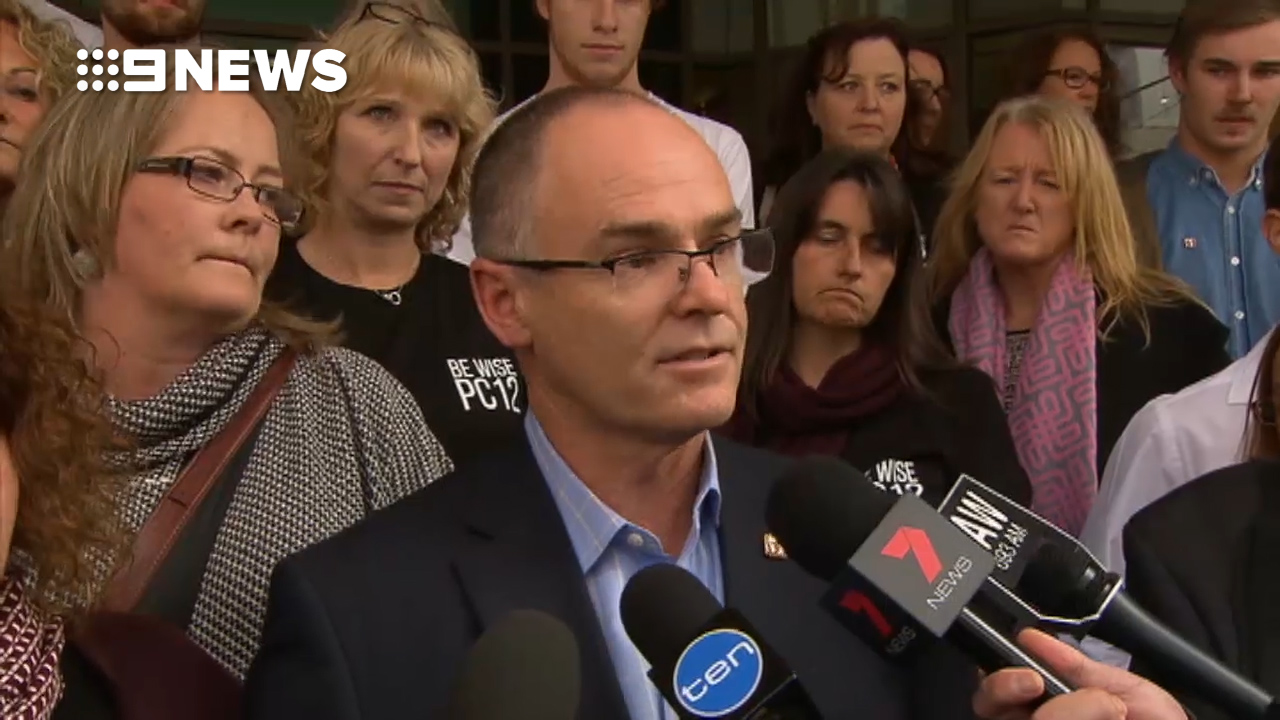 Patrick Cronin's father, Matt, spoke outside the Melbourne Magistrates' Court. (9NEWS)