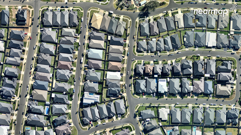 Developments at the newer Oran Park are squeezed onto smaller blocks of land. (Nearmap)