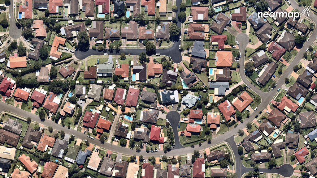 The older suburb of Quakers Hill, with its larger yards and established greenery. (Nearmap)