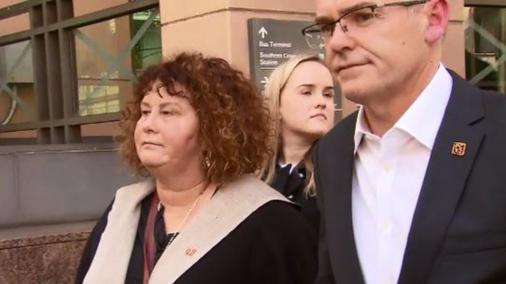 Mr Cronin's parents, Robyn and Matt, outside Melbourne Magistrates' court today.