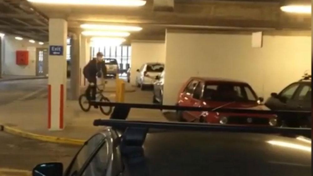 BMX rider attempts ridiculous car park stunt