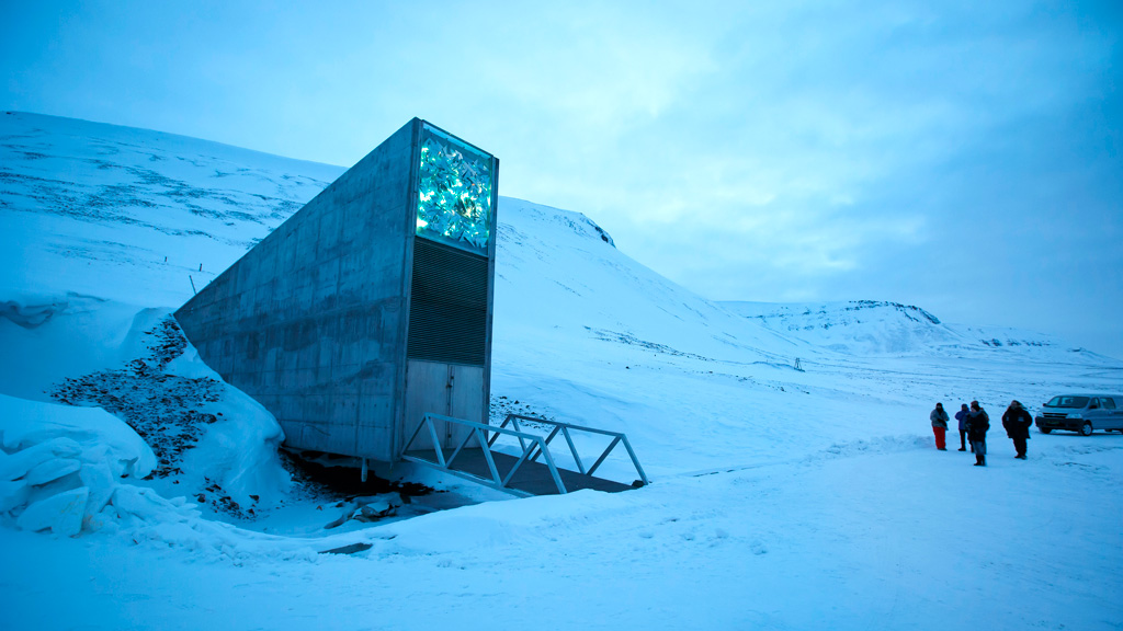 A general view of the entrance of the international gene bank Svalbard Global Seed Vault (SGSV), outside Longyearbyen on Spitsbergen, Norway, on February 29, 2016. (AFP)