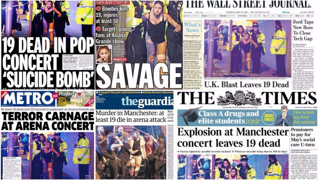 In pictures: Newspapers capture 'terror carnage' of Manchester Arena bomb attack