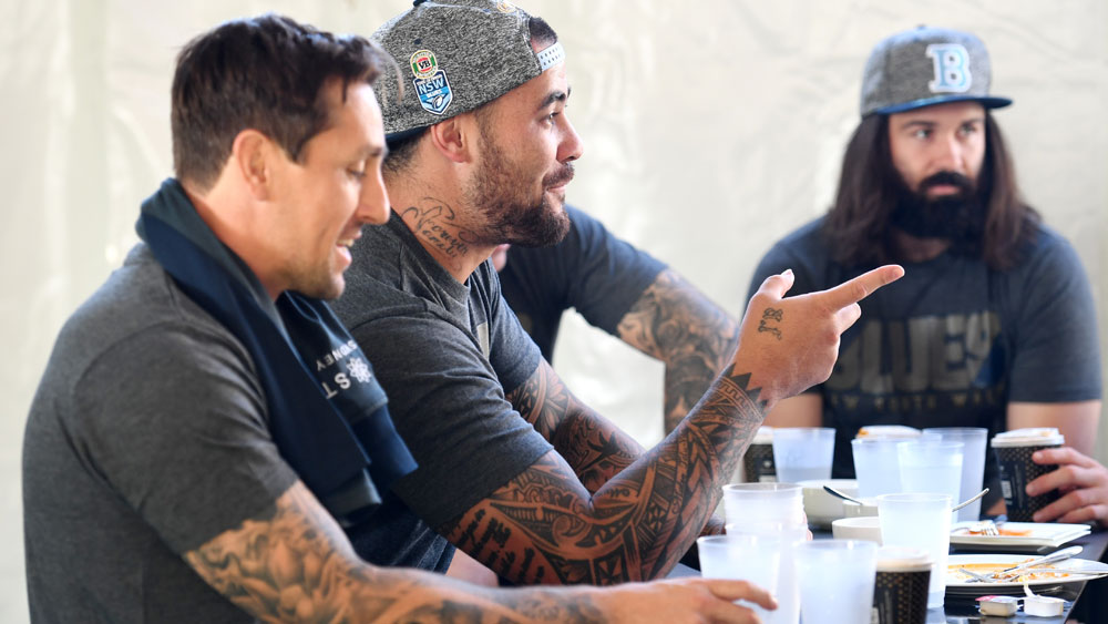 Mitchell Pearce with NSW Blues teammates. (AAP)
